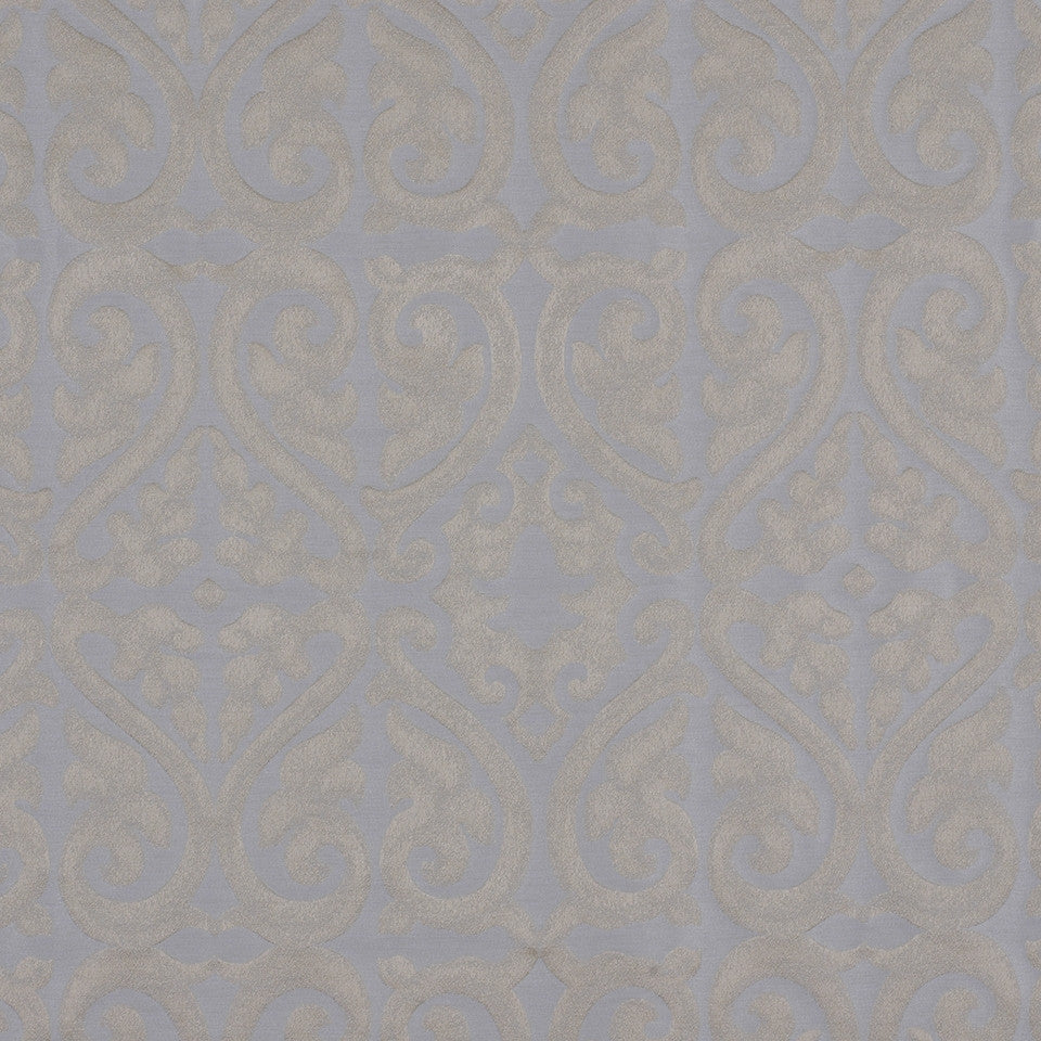 ICE Topiary Scroll Fabric - Ice