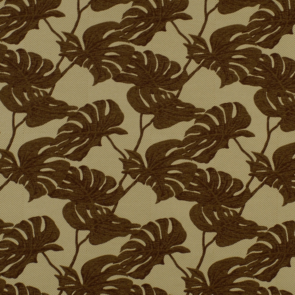 DOCKSIDE Split Leaves Fabric - Teak