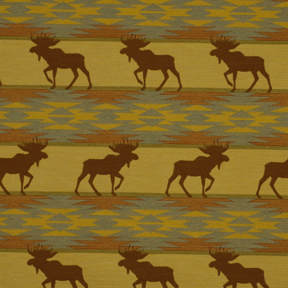 FIRESIDE Moose On Loose Fabric - Saddle