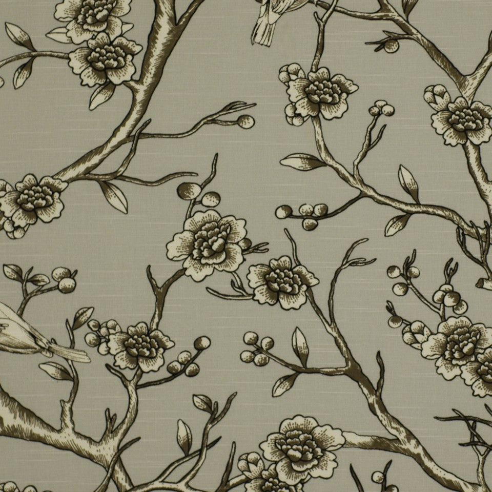 DWELLSTUDIO ECLECTIC MODERN Vintage Blossom Fabric - Dove