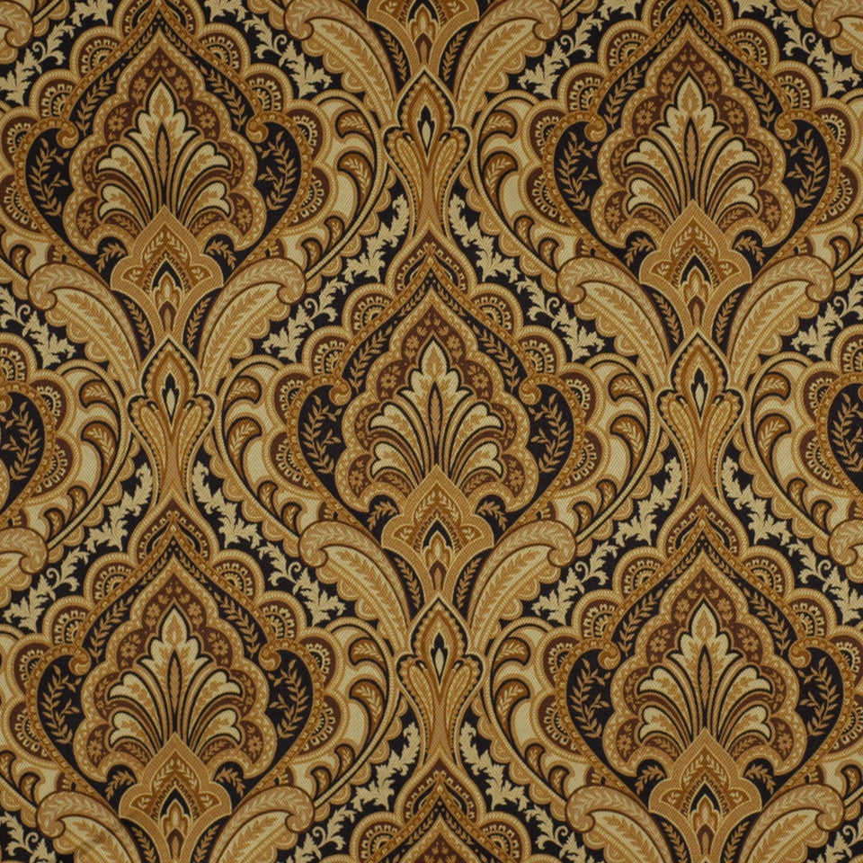 FLORENTINE SATINS III Paisley Grace Fabric - Black