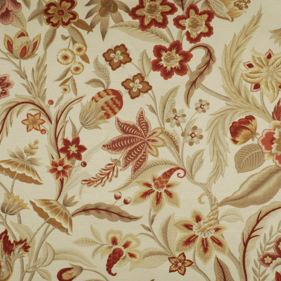 FLORENTINE SATINS III Alice Garden Fabric - Cranberry