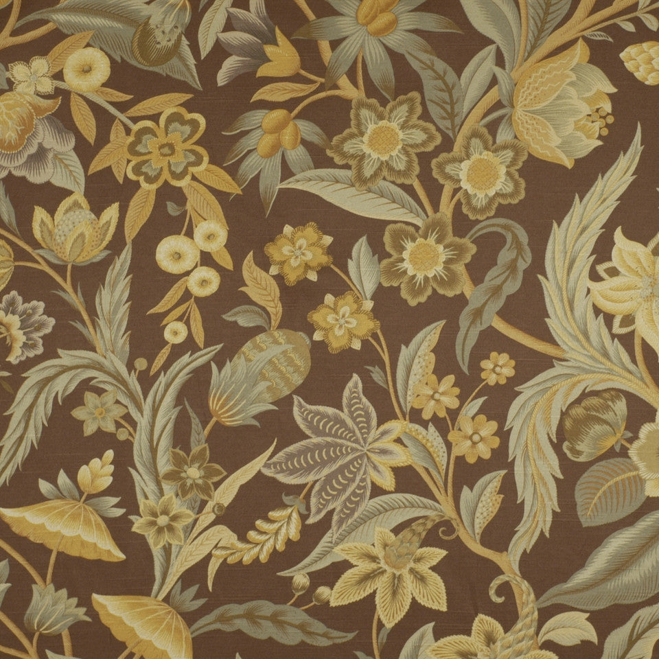 FLORENTINE SATINS III Alice Garden Fabric - Walnut