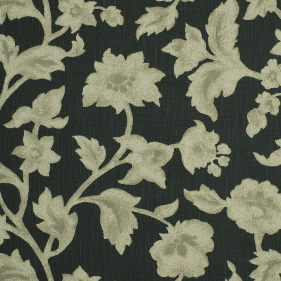 PEWTER-TOURMALINE-BLUEBELL Etruscan Flora Fabric - Smoke