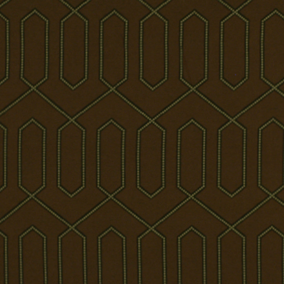 DWELLSTUDIO ECLECTIC MODERN Dotted Trellis Fabric - Major Brown
