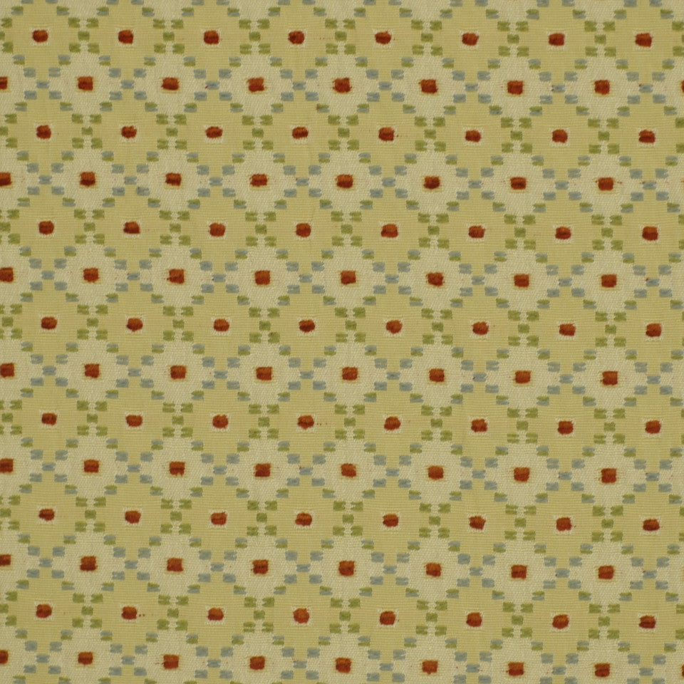 POPPY Dotted Boxes Fabric - Poppy