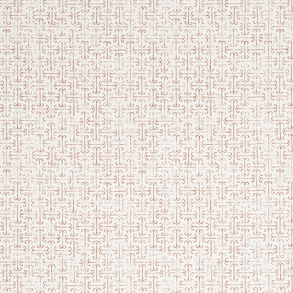 HENNA Scroll Lines Fabric - Poppy