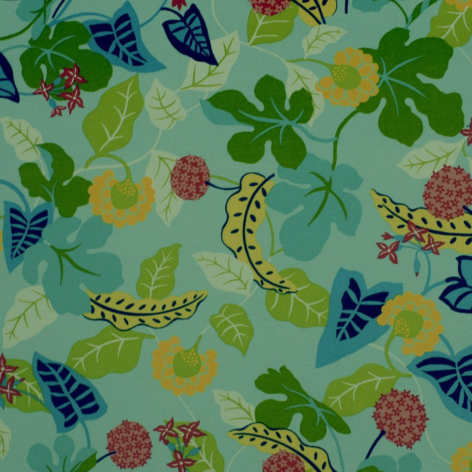 OUTDOOR @ HOME Baja Floral Fabric - Turquoise