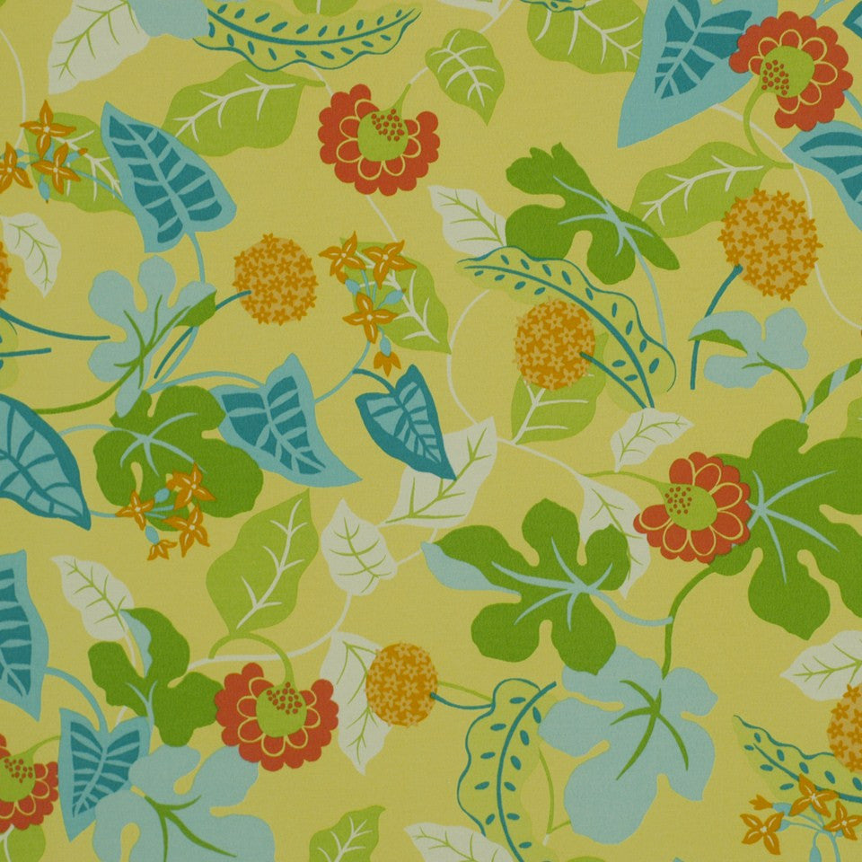 OUTDOOR @ HOME Baja Floral Fabric - Lemon
