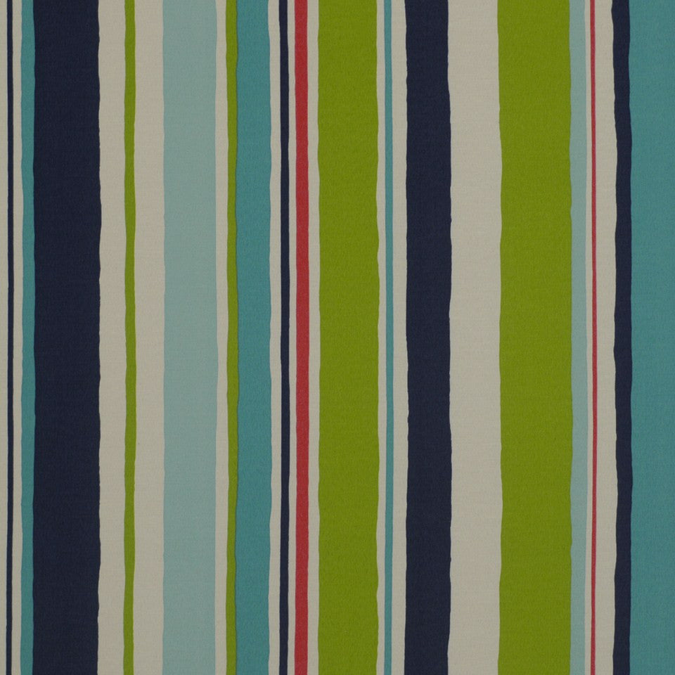 OUTDOOR @ HOME Baja Stripe Fabric - Turquoise