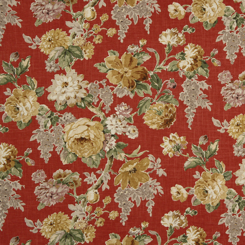 RUBY-BEESWAX-GERANIUM Escabosa Fabric - Cherry