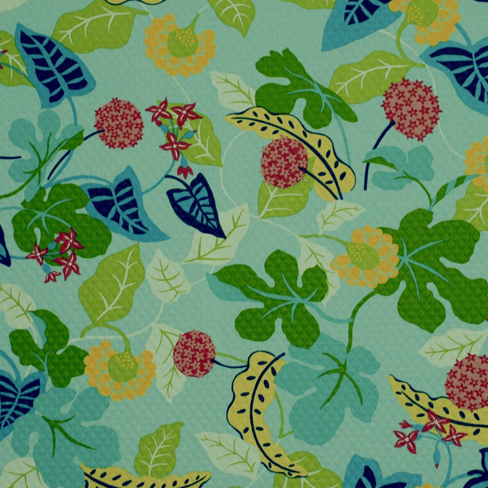 OUTDOOR @ HOME Baja Floral Em Fabric - Turquoise