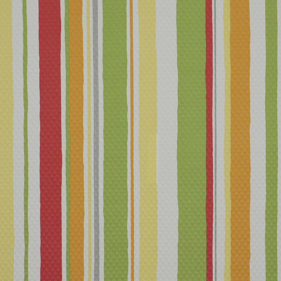 OUTDOOR @ HOME Baja Stripe Em Fabric - Poppy