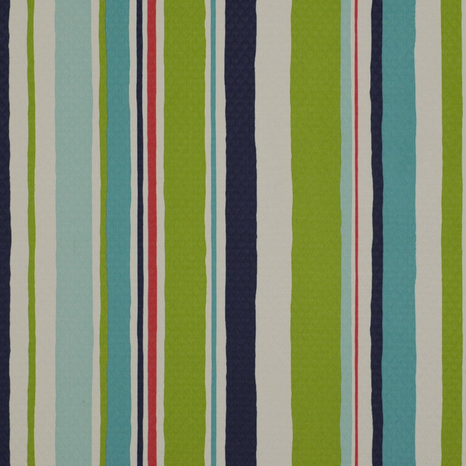 OUTDOOR @ HOME Baja Stripe Em Fabric - Turquoise