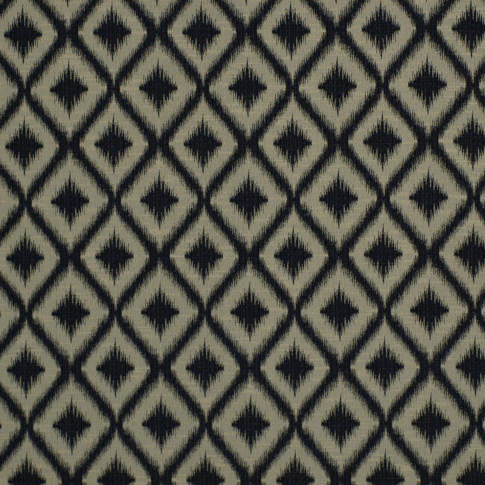 PEWTER-TOURMALINE-BLUEBELL Ikat Fret Fabric - Charcoal