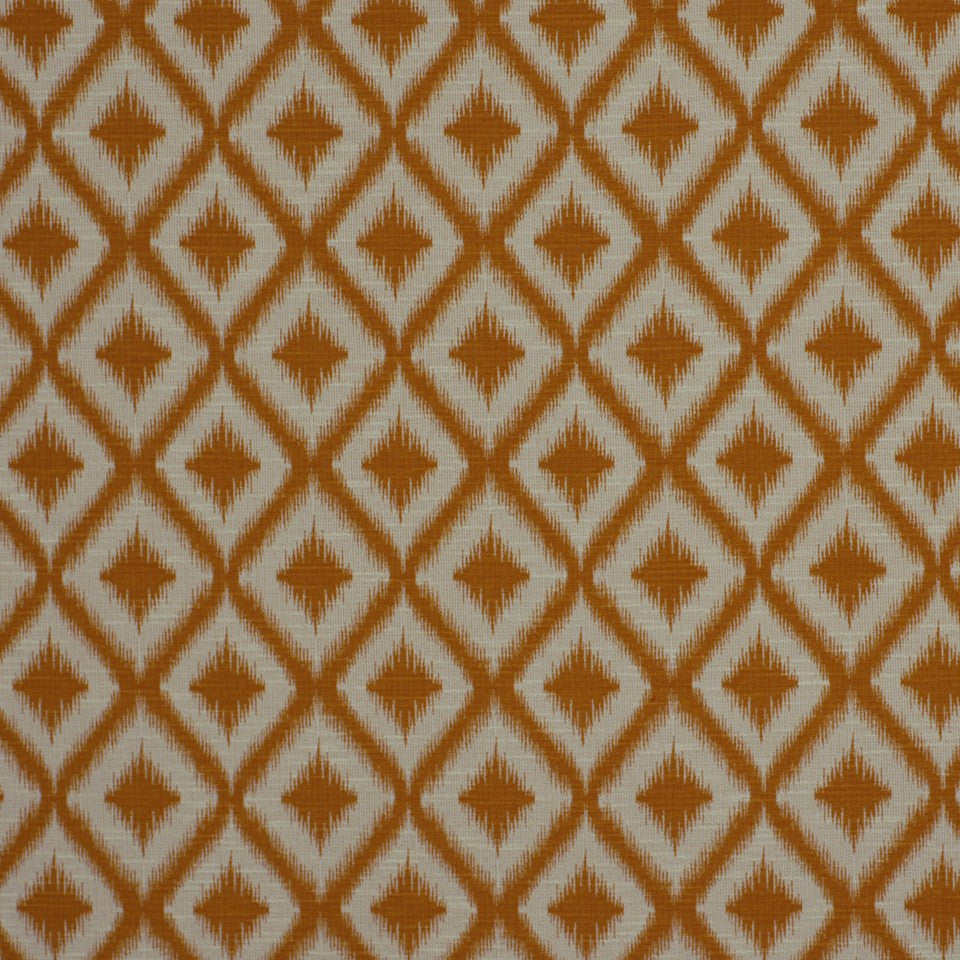 SUNSET-HENNA-BERRY Ikat Fret Fabric - Mango
