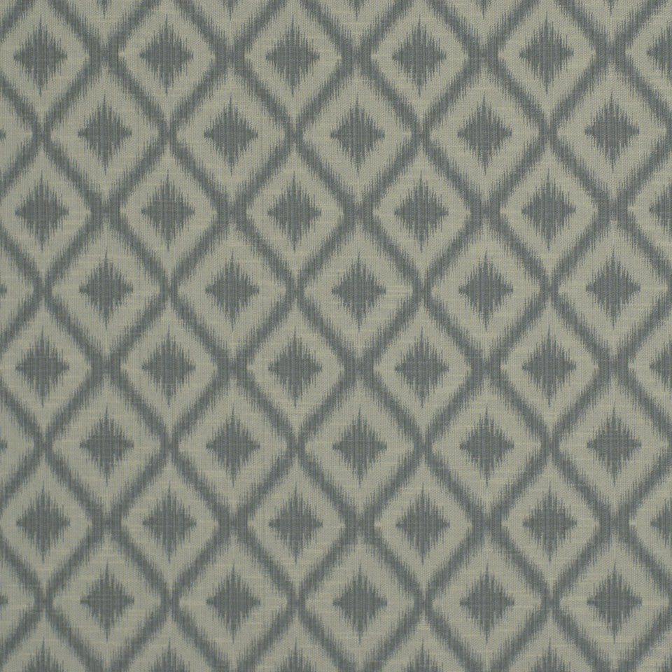 PEWTER-TOURMALINE-BLUEBELL Ikat Fret Fabric - Pewter
