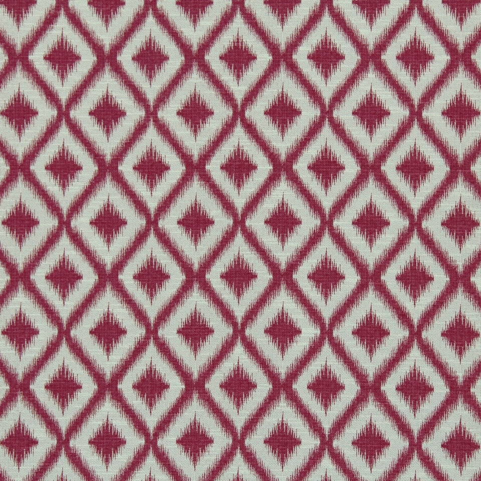 SUNSET-HENNA-BERRY Ikat Fret Fabric - Raspberry
