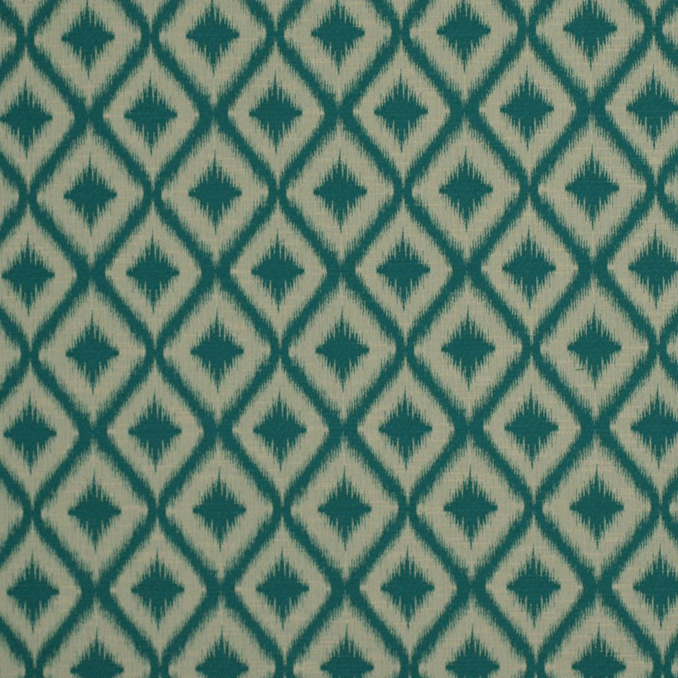 PEWTER-TOURMALINE-BLUEBELL Ikat Fret Fabric - Tourmaline