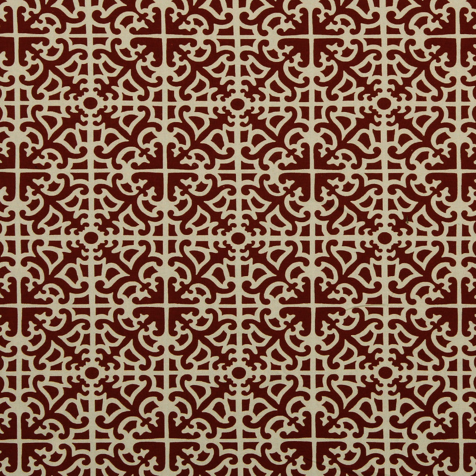 RUBY-BEESWAX-GERANIUM Roman Time Fabric - Currant