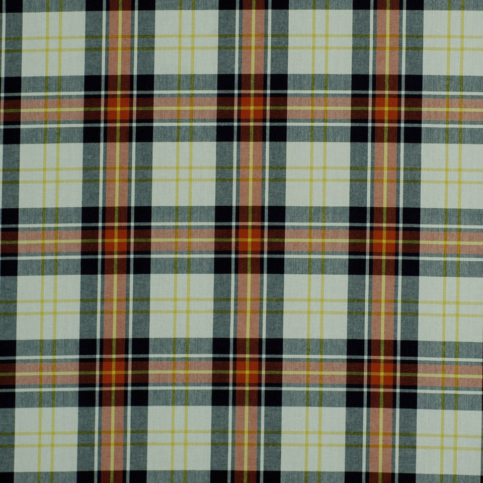 Plaid Hills Fabric - Red Black