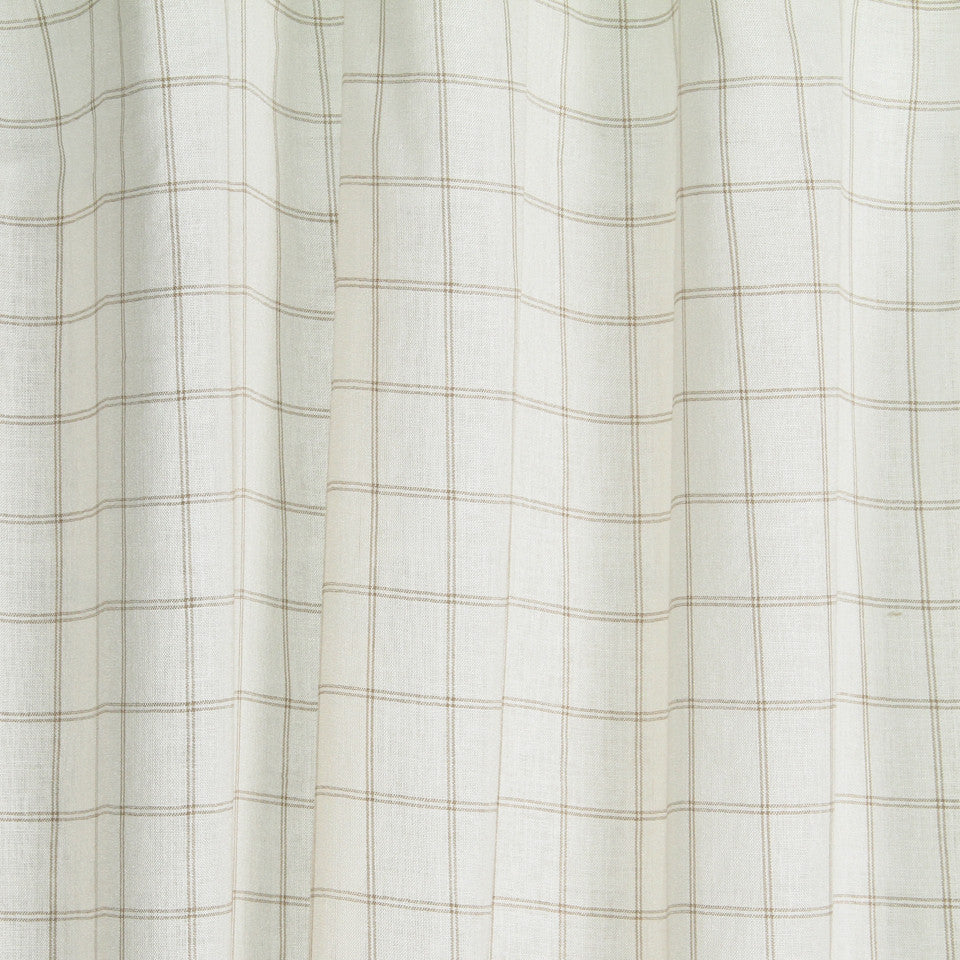 LINEN SHEERS STRIPES & PLAIDS Kazak Plaid Fabric - Nougat