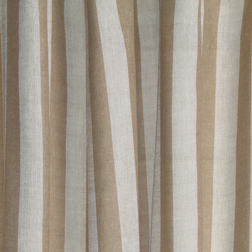 LINEN SHEERS STRIPES & PLAIDS Oahu Stripe Fabric - Bark