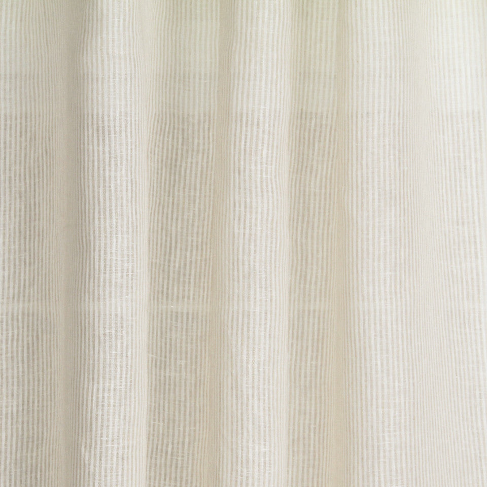 LINEN SHEERS STRIPES & PLAIDS Sheer Runway Fabric - Natural
