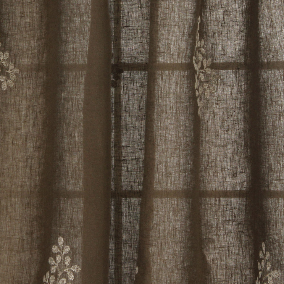 NATURAL SHEERS DARK NEUTRALS Pearl Drop Fabric - Bark