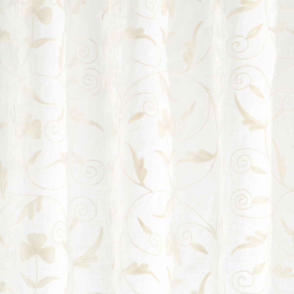 Patterned Sheers Swirling Leaf Fabric - Pearl