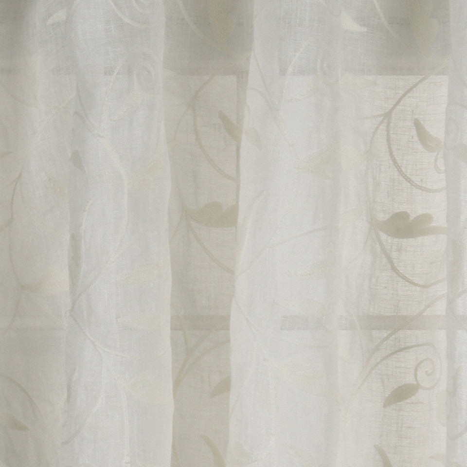 NATURAL SHEERS LIGHT NEUTRALS Swirling Leaf Fabric - Snow