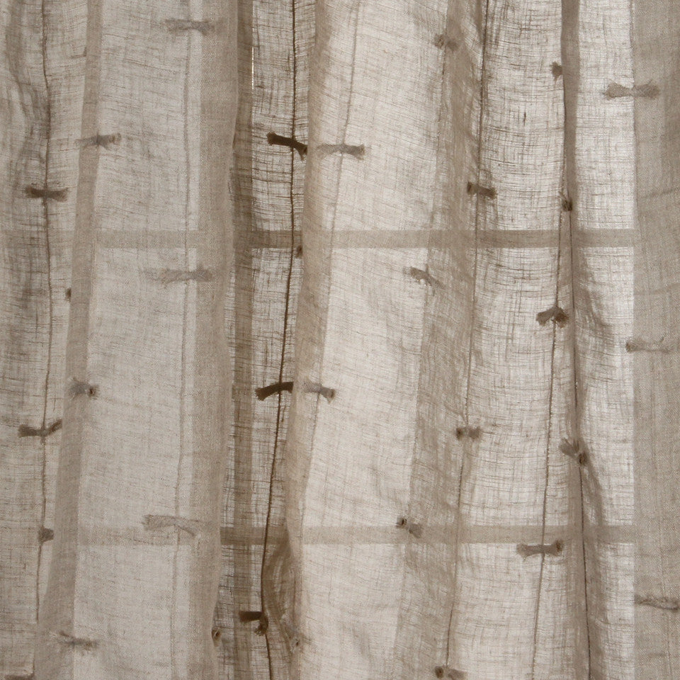 NATURAL SHEERS DARK NEUTRALS Bows Along Fabric - Flax
