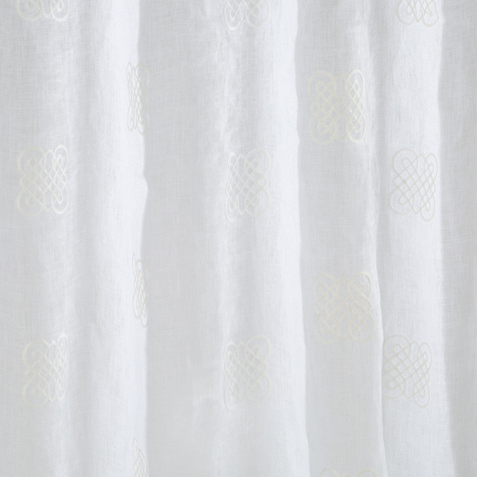 Patterned Sheers Eight Square Fabric - Snow