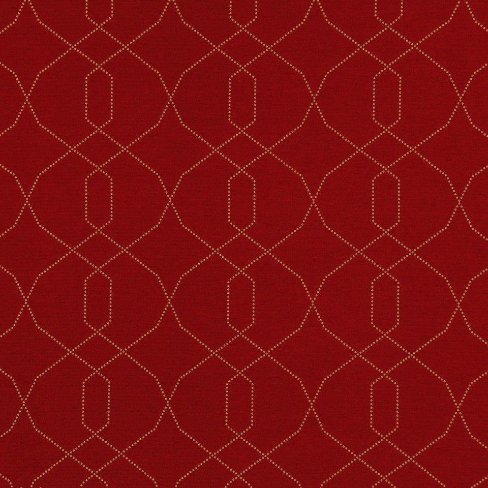 DWELLSTUDIO MODERN LUXURY Dotted Frame Fabric - Scarlet