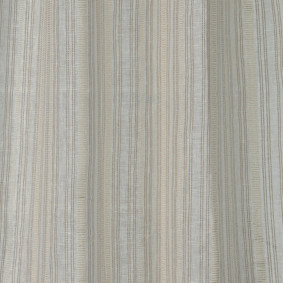 NATURAL SHEERS DARK NEUTRALS Race Stripe Fabric - Oyster