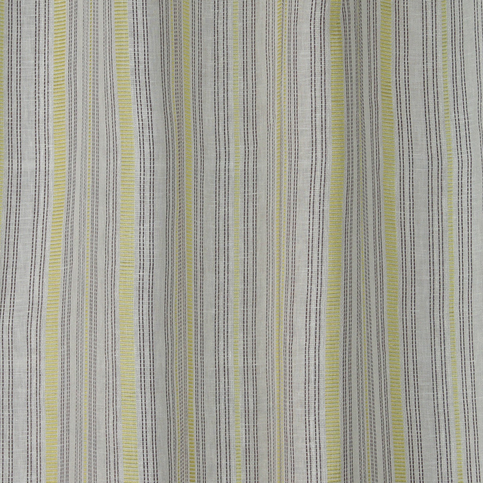NATURAL SHEERS LIGHT NEUTRALS Race Stripe Fabric - Peridot