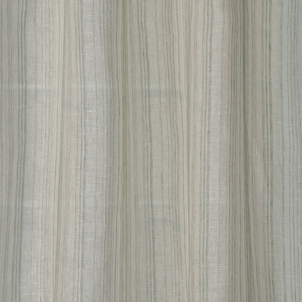 NATURAL SHEERS LIGHT NEUTRALS Crinkle Lines Fabric - Icy