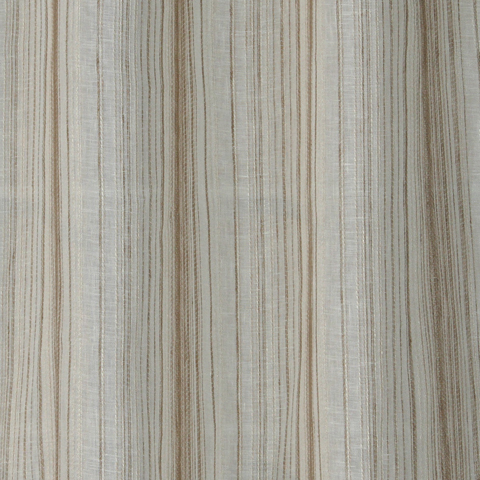 NATURAL SHEERS DARK NEUTRALS Crinkle Lines Fabric - Natural