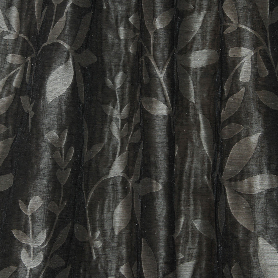 NATURAL SHEERS DARK NEUTRALS Beauty Scene Fabric - Black Pearl