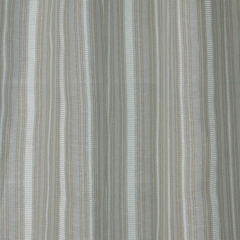 NATURAL SHEERS LIGHT NEUTRALS Race Stripe Fabric - Mist