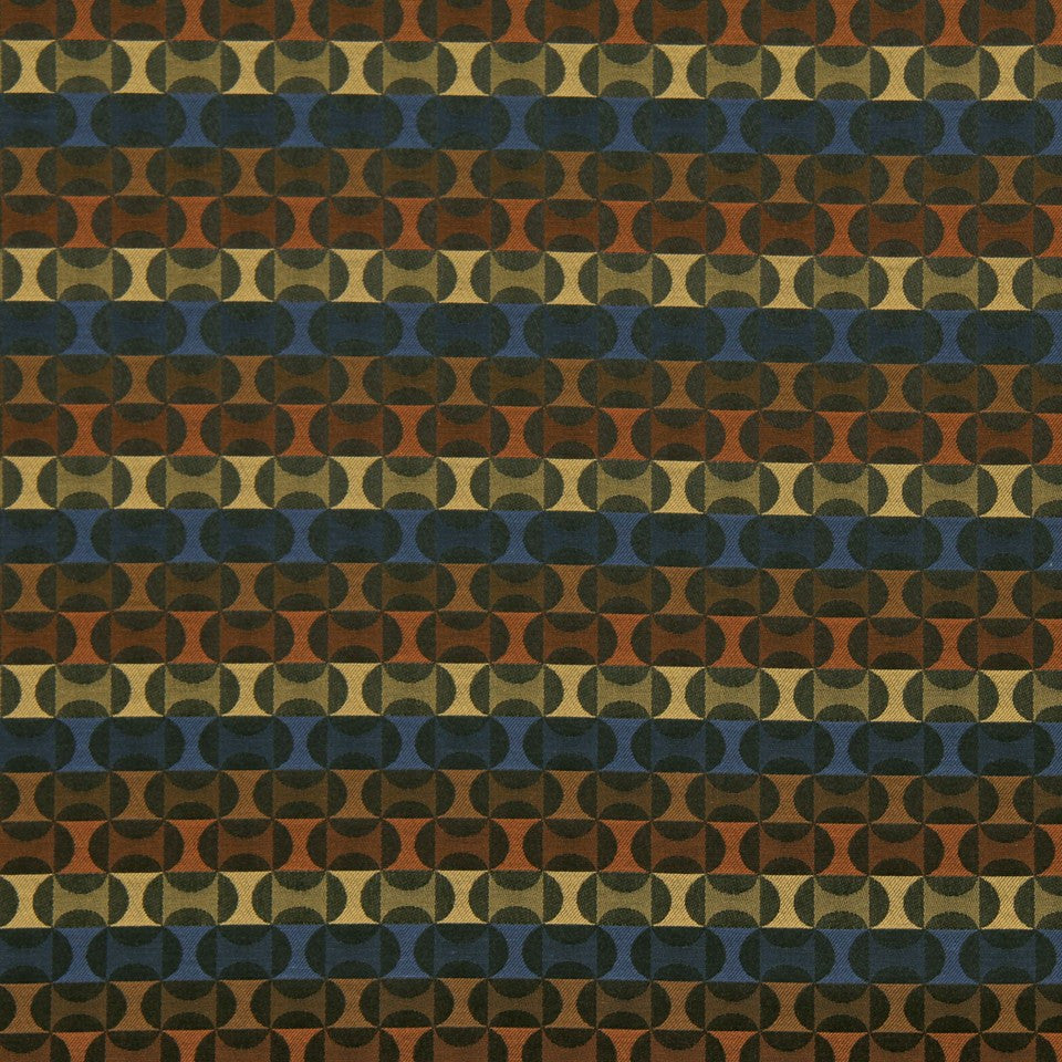CRYPTON TRANSITIONAL Oval Motif Fabric - Cobalt