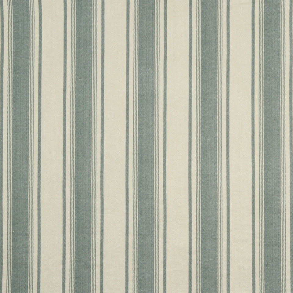 RUSTIC STRIPES AND PLAIDS UPH Claire Stripe Fabric - Lake