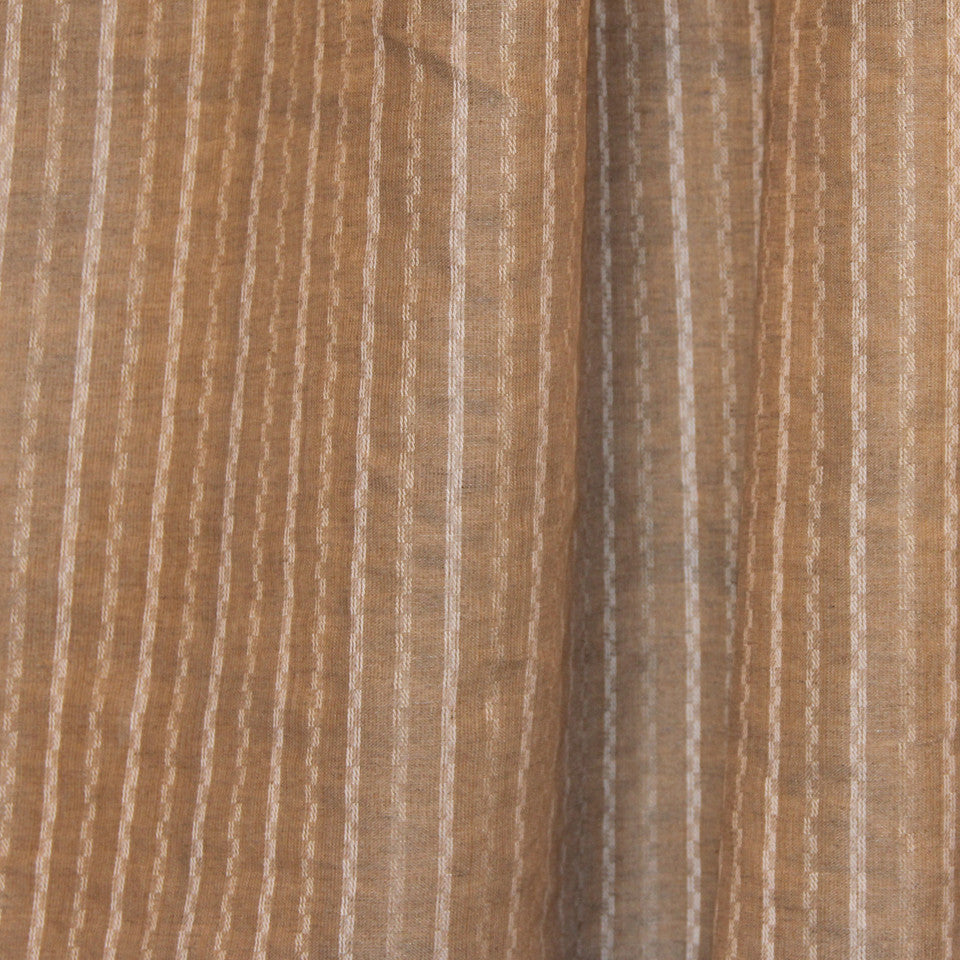 NATURAL SHEERS DARK NEUTRALS Offset Stripe Fabric - Linen