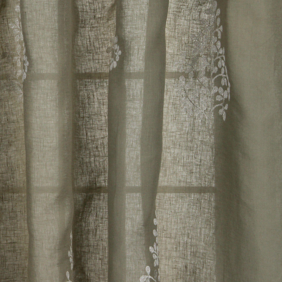 NATURAL SHEERS DARK NEUTRALS Pearl Drop Fabric - Stone