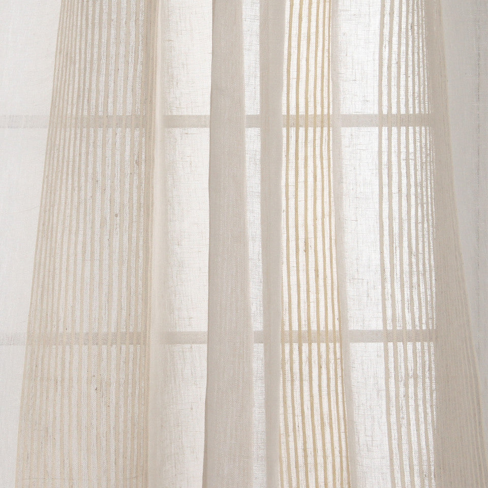NATURAL SHEERS DARK NEUTRALS Mesh Lines Fabric - Pearl