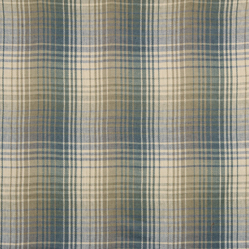 RUSTIC STRIPES AND PLAIDS UPH Pampas Plaid Fabric - Bay Blue