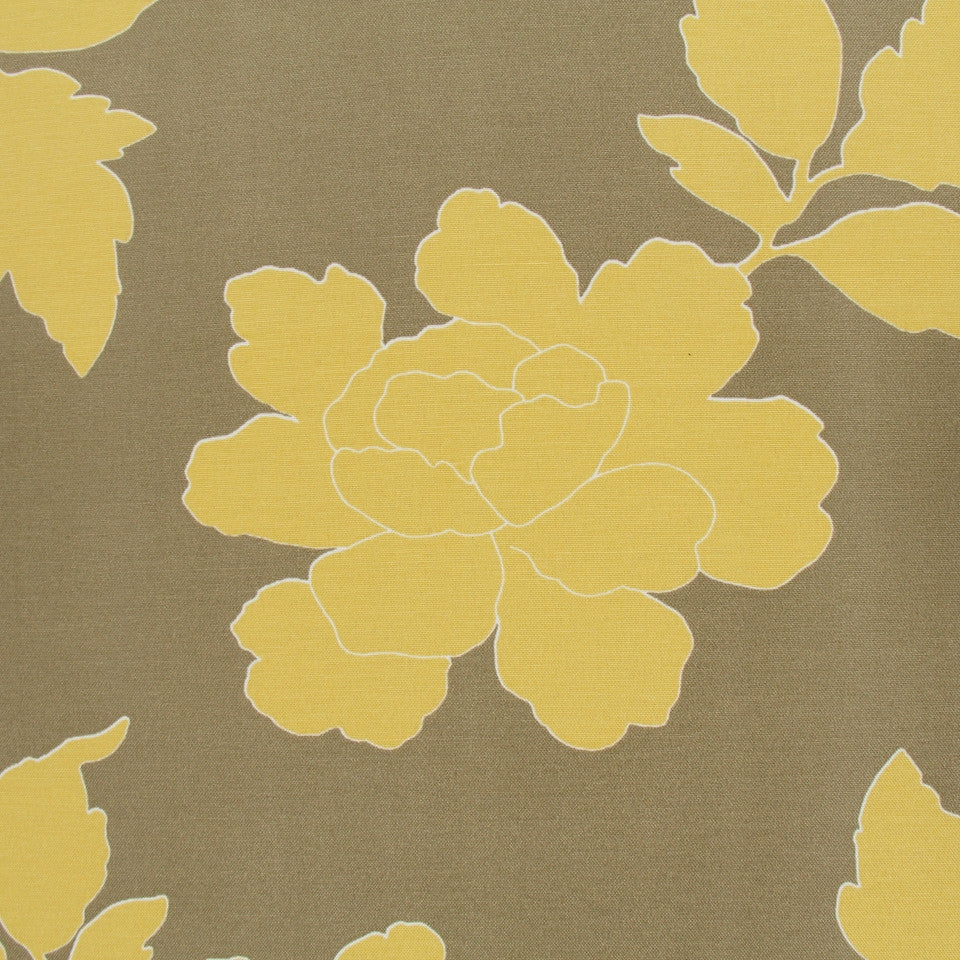 New Peony Fabric - Canary Taupe