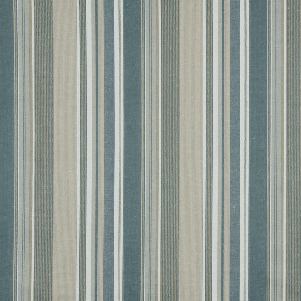 RUSTIC STRIPES AND PLAIDS UPH Dixon Stripe Fabric - Bay Blue