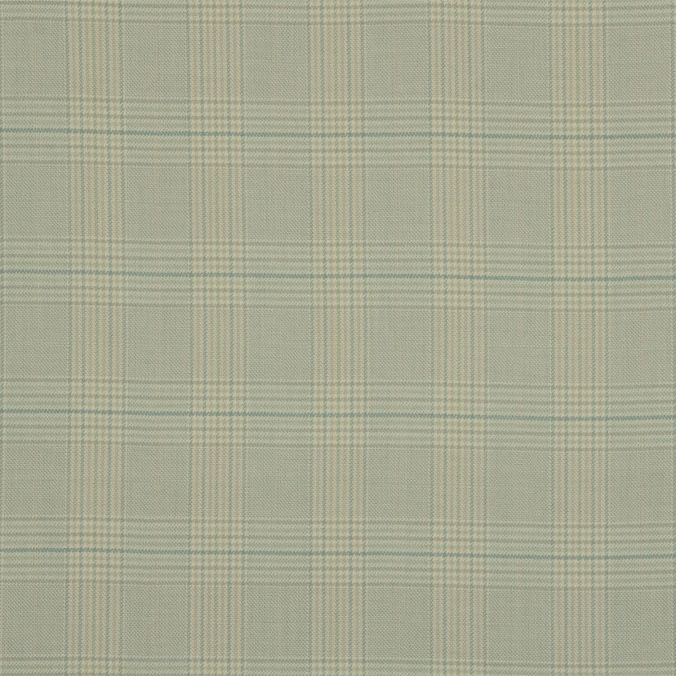 RUSTIC STRIPES AND PLAIDS UPH Sinclair Plaid Fabric - Sky Linen