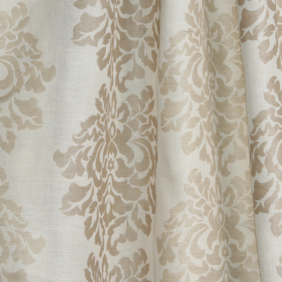 NATURAL SHEERS DARK NEUTRALS Faint Florals Fabric - Natural